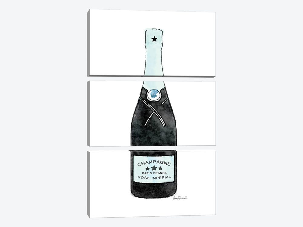 Champagne Teal Single Bottle by Amanda Greenwood 3-piece Canvas Wall Art