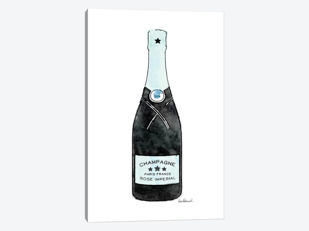 Champagne Teal Single Bottle by Amanda Greenwood 1-piece Canvas Art