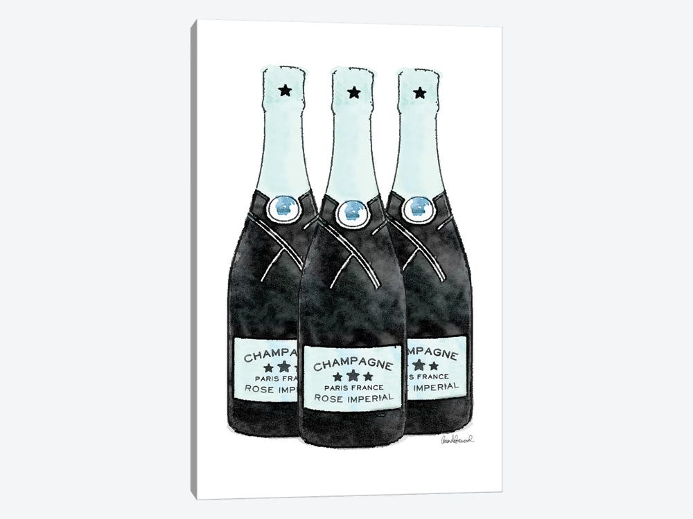 Champagne Teal Three Bottle by Amanda Greenwood 1-piece Canvas Print