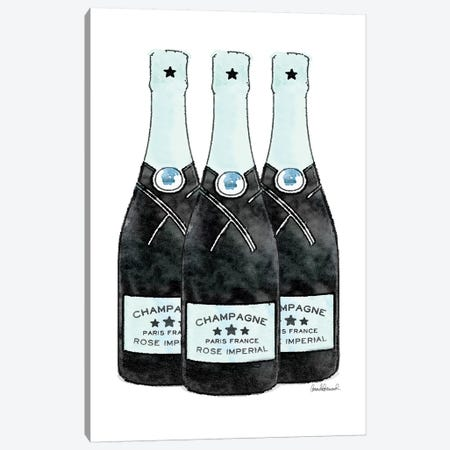 Champagne Teal Three Bottle Canvas Print #GRE274} by Amanda Greenwood Art Print