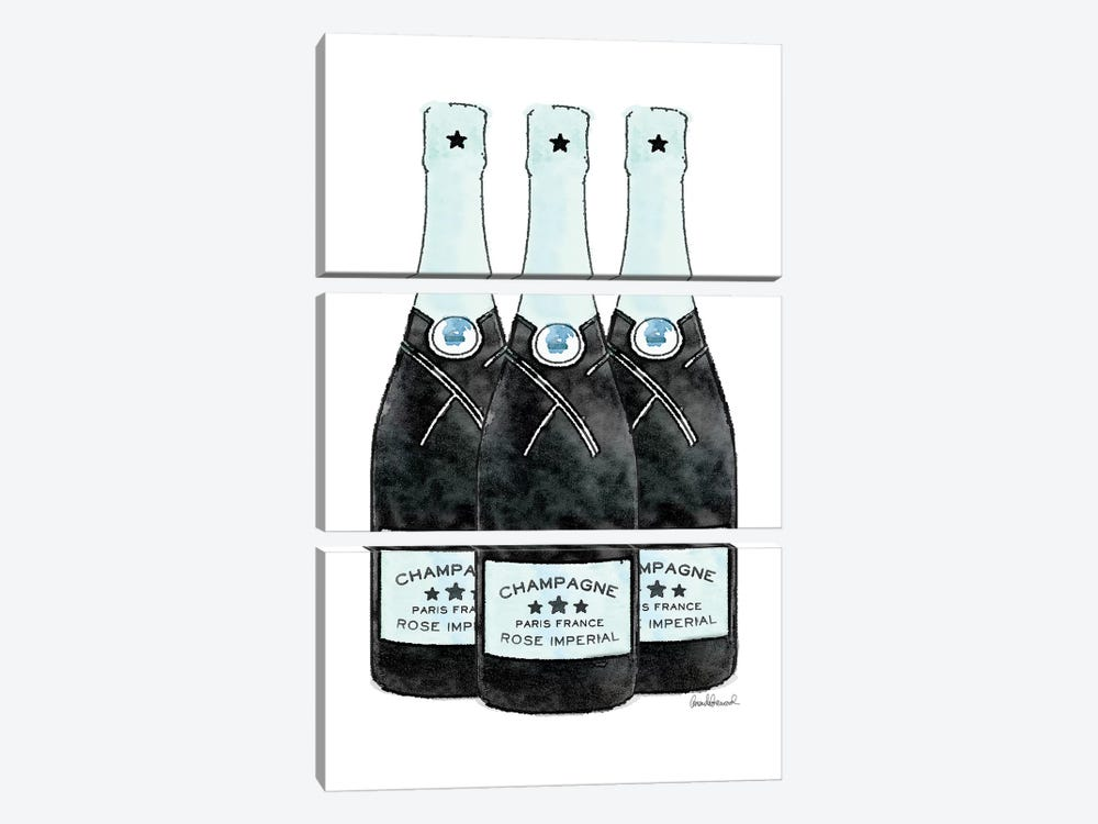 Champagne Teal Three Bottle by Amanda Greenwood 3-piece Art Print