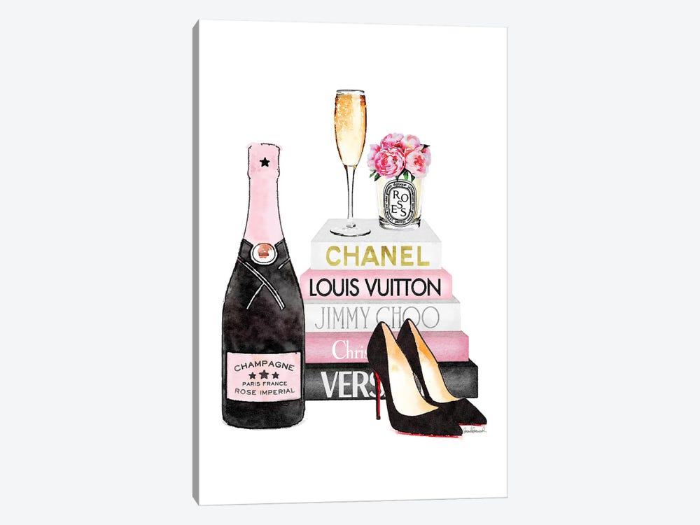 Pink Books  And Pink Champagne  by Amanda Greenwood 1-piece Canvas Print