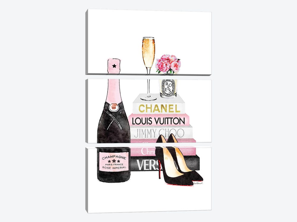 Pink Books  And Pink Champagne  by Amanda Greenwood 3-piece Canvas Print