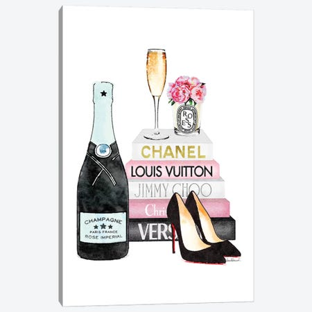 Pink Books And Teal Champagne Canvas Print #GRE277} by Amanda Greenwood Art Print