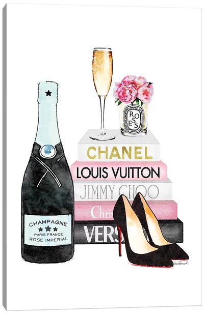 Pink Books And Teal Champagne Canvas Art Print