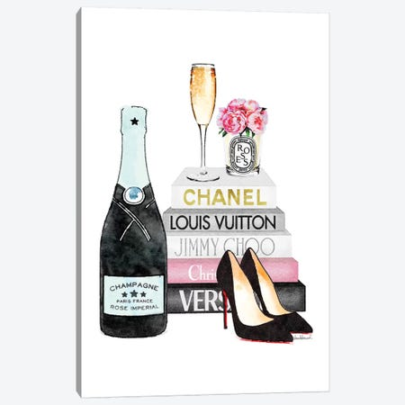 Teal And Pink Books With Teal Champagne Canvas Print #GRE278} by Amanda Greenwood Canvas Art