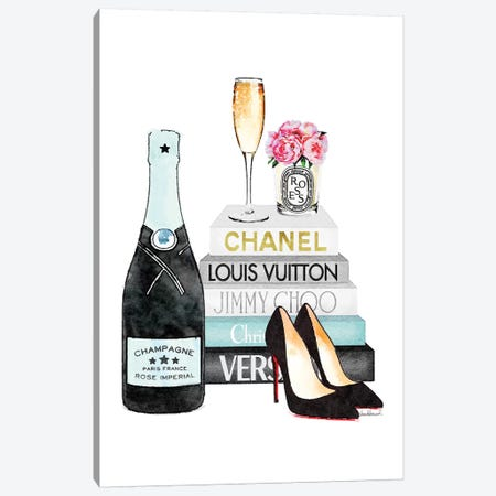 Teal Books And Teal Champagne Canvas Print #GRE279} by Amanda Greenwood Canvas Wall Art