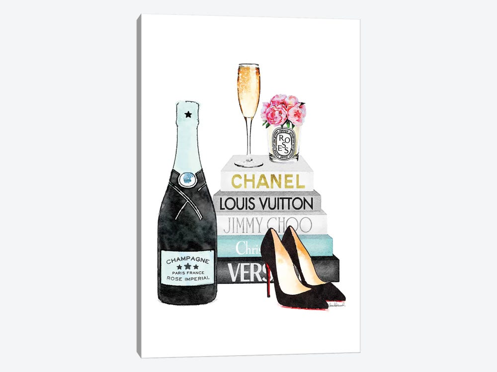 Teal Books And Teal Champagne by Amanda Greenwood 1-piece Canvas Artwork