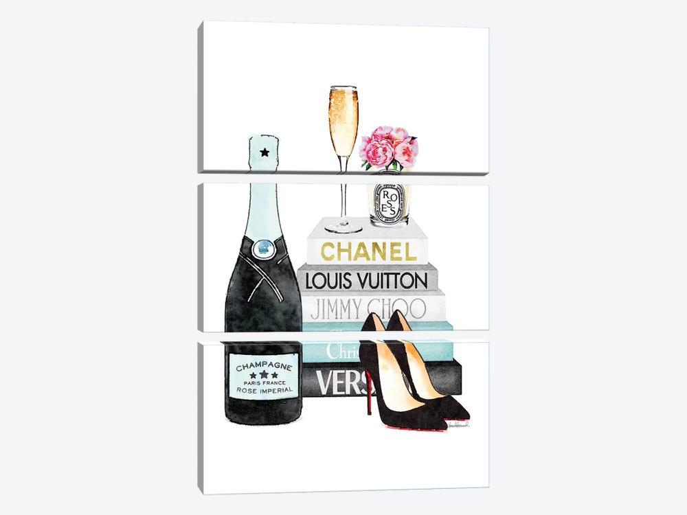 Teal Books And Teal Champagne by Amanda Greenwood 3-piece Canvas Art