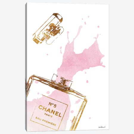 Gold Perfume Bottle With Pink Splash Canvas Print #GRE27} by Amanda Greenwood Canvas Art Print
