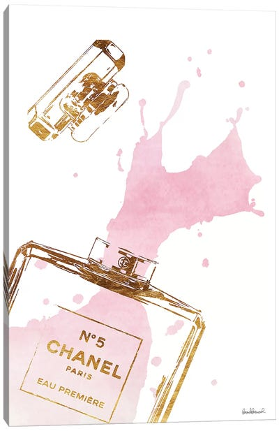Gold Perfume Bottle With Pink Splash Canvas Print #GRE27