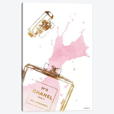 Gold Perfume Bottle With Pink Splash Canvas Print #GRE27} by Amanda Greenwood Canvas Art Print