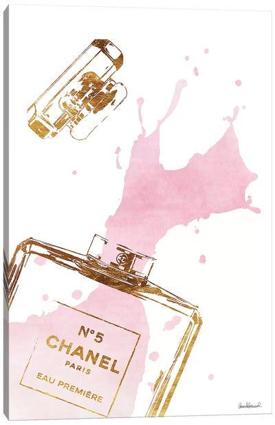 Gold Perfume Bottle With Pink Splash Canvas Art Print