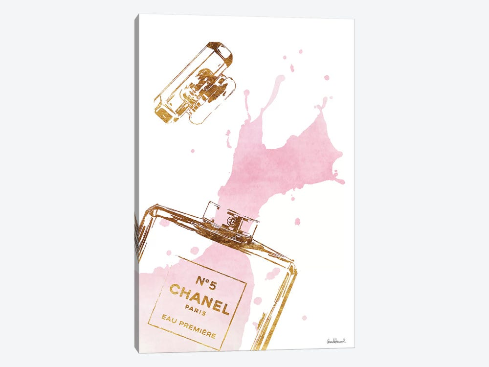Gold Perfume Bottle With Pink Splash by Amanda Greenwood 1-piece Canvas Wall Art