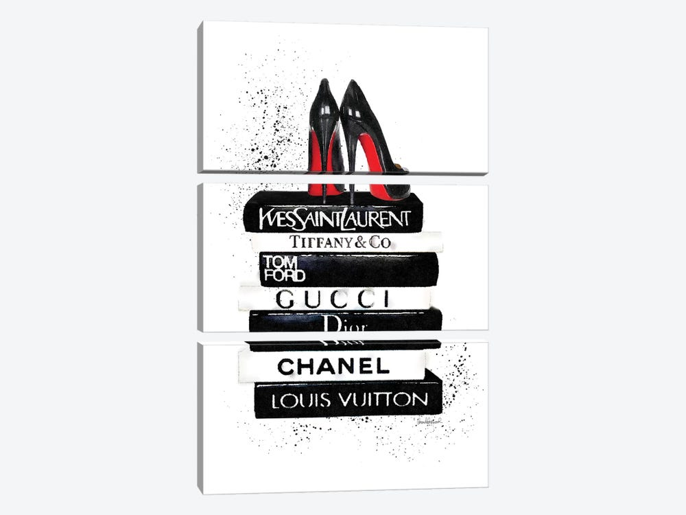 Black And White Book Stack, Ink And Shoes by Amanda Greenwood 3-piece Canvas Art