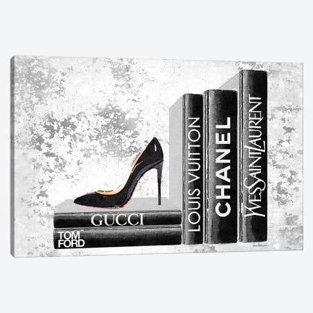 Black Side Books With Shoe - Grunge Canvas Print #GRE284} by Amanda Greenwood Canvas Wall Art