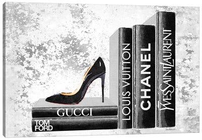 Black Side Books With Shoe - Grunge Canvas Art Print