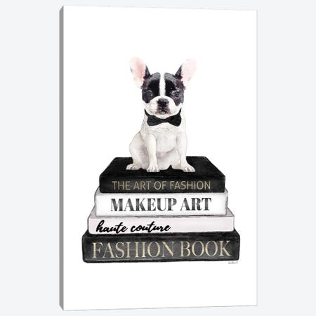 Books Of Fashion, Grey, B&W Frenchie 3-Piece Canvas #GRE286} by Amanda Greenwood Canvas Wall Art