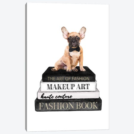 Books Of Fashion, Grey, Fawn Frenchie Canvas Print #GRE287} by Amanda Greenwood Canvas Wall Art
