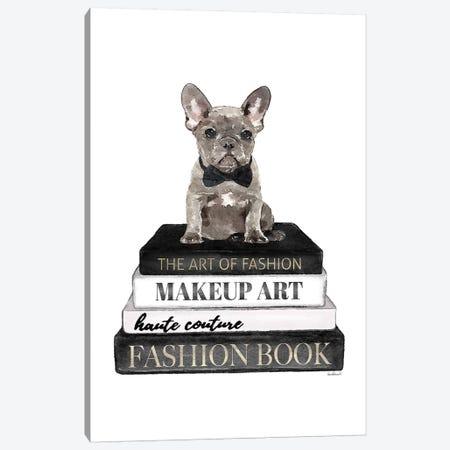 Books Of Fashion, Grey, Grey Frenchie 3-Piece Canvas #GRE288} by Amanda Greenwood Canvas Print