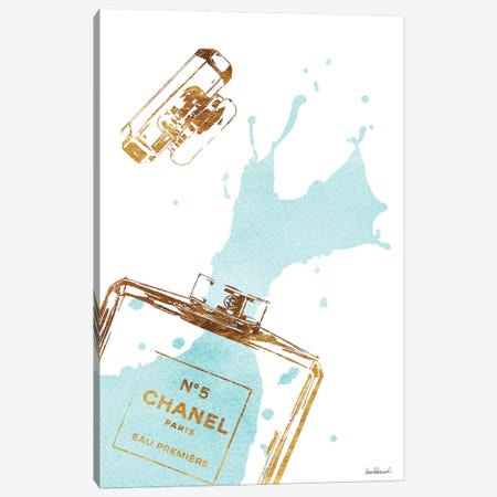 Gold Perfume Bottle With Teal Splash Canvas Print #GRE28} by Amanda Greenwood Canvas Wall Art