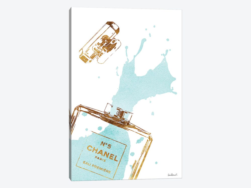 Gold Perfume Bottle With Teal Splash by Amanda Greenwood 1-piece Canvas Print