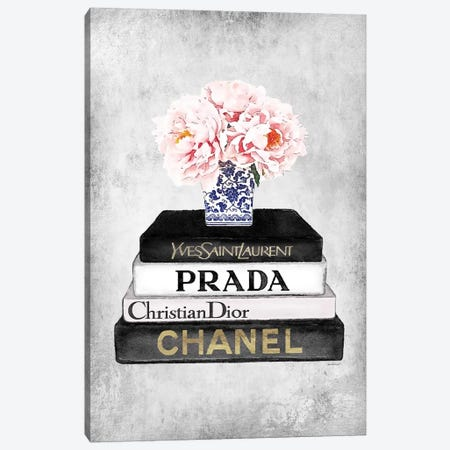 Books Of Fashion, Grey, Flowers, Grey Grunge Canvas Print #GRE291} by Amanda Greenwood Canvas Art