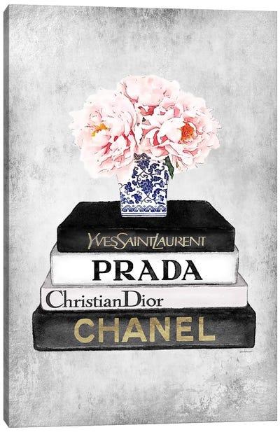 Books Of Fashion, Grey, Flowers, Grey Grunge Canvas Art Print
