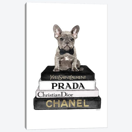 Books Of Fashion, Grey, Grey Frenchie Canvas Print #GRE292} by Amanda Greenwood Canvas Artwork