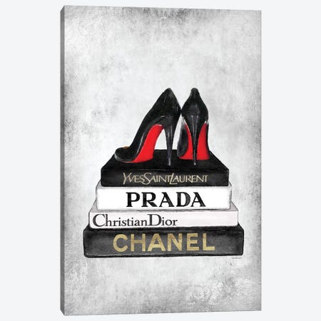 Books Of Fashion, Grey, Shoes, Grey Grunge Canvas Print #GRE295} by Amanda Greenwood Canvas Art Print