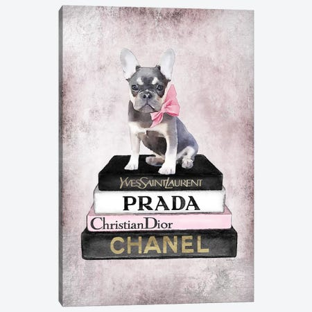 Books Of Fashion, Pink, Fawn Blue, Pink Grunge Canvas Print #GRE298} by Amanda Greenwood Canvas Wall Art