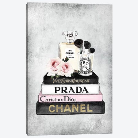 Books Of Fashion, Pink, Makeup Set, Grey Grunge Canvas Print #GRE299} by Amanda Greenwood Canvas Art