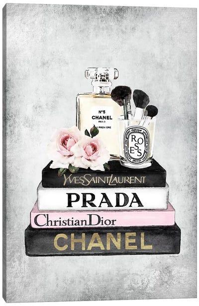 Books Of Fashion, Pink, Makeup Set, Grey Grunge Canvas Art Print