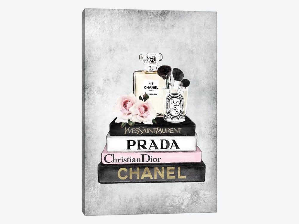 Books Of Fashion, Pink, Makeup Set, Grey Grunge by Amanda Greenwood 1-piece Canvas Artwork