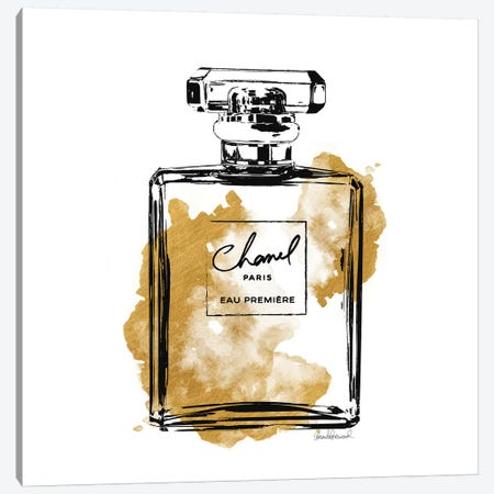 Black And Gold Perfume Bottle Canvas Print #GRE2} by Amanda Greenwood Art Print