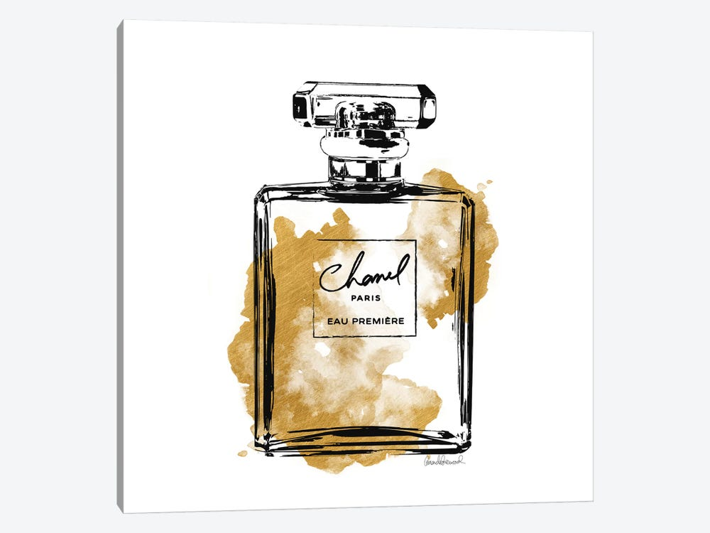 Black And Gold Perfume Bottle by Amanda Greenwood 1-piece Canvas Wall Art