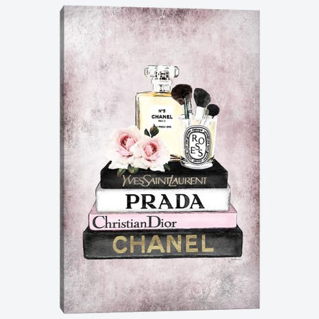 Books Of Fashion, Pink, Makeup Set, Pink Grunge Canvas Print #GRE300} by Amanda Greenwood Canvas Art