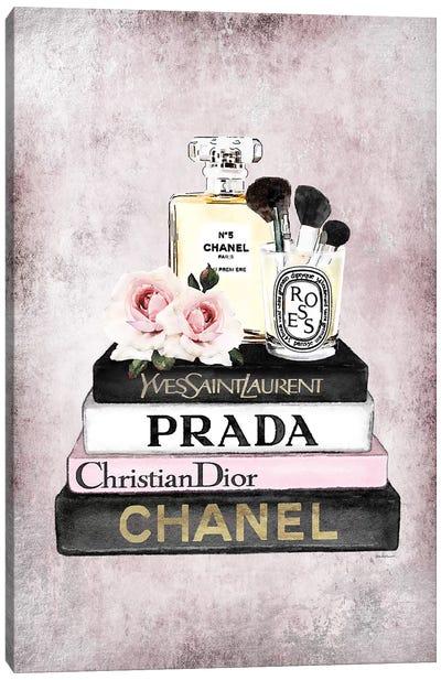 Books Of Fashion, Pink, Makeup Set, Pink Grunge Canvas Art Print