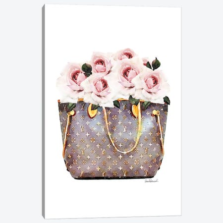 Brown Bag Filled With Blush Roses 3-Piece Canvas #GRE301} by Amanda Greenwood Canvas Artwork