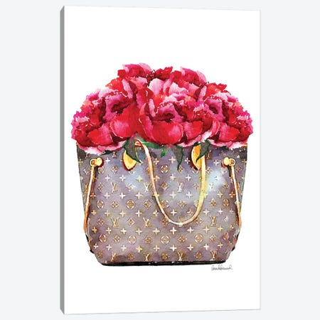 Brown Bag Filled With Deep Pink Peonies 3-Piece Canvas #GRE302} by Amanda Greenwood Canvas Art