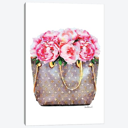 Brown Bag Filled With Pink Peonies 3-Piece Canvas #GRE303} by Amanda Greenwood Canvas Artwork