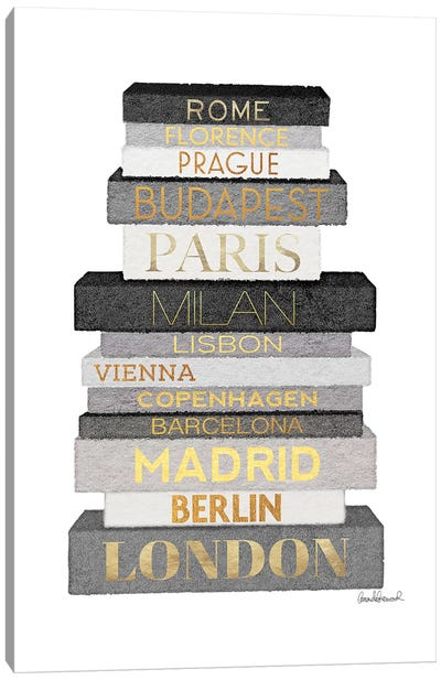 City Books Europe, Grey & Gold Canvas Art Print