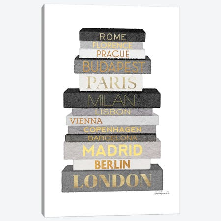 City Books Europe, Grey & Gold Canvas Print #GRE305} by Amanda Greenwood Canvas Print