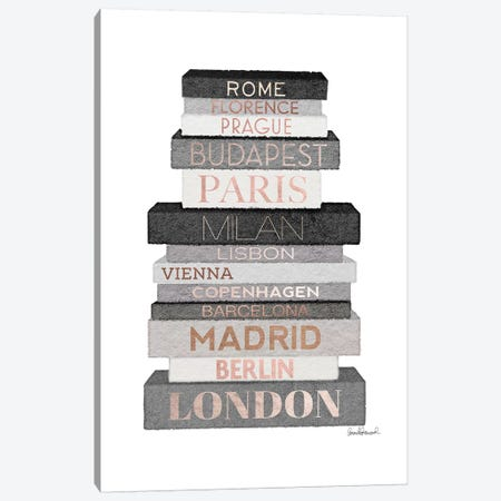 City Books Europe, Grey & Rose Gold Canvas Print #GRE306} by Amanda Greenwood Art Print