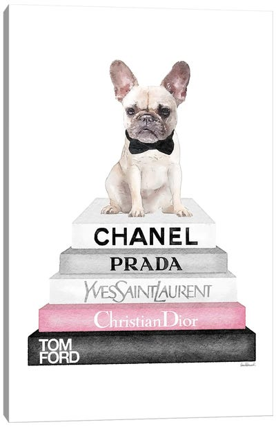 Grey Books With Soft Pink, White French Bulldog, Bowtie Canvas Art Print