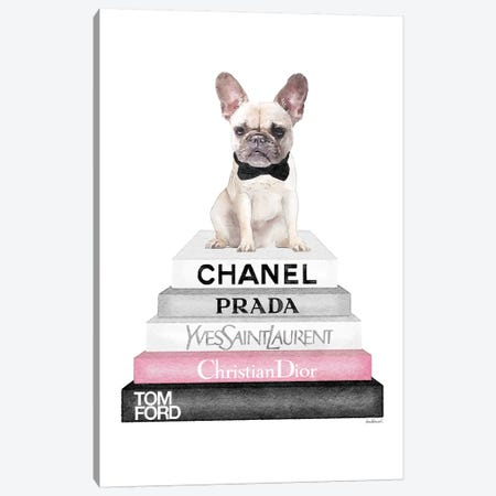Grey Books With Soft Pink, White French Bulldog, Bowtie Canvas Print #GRE310} by Amanda Greenwood Art Print