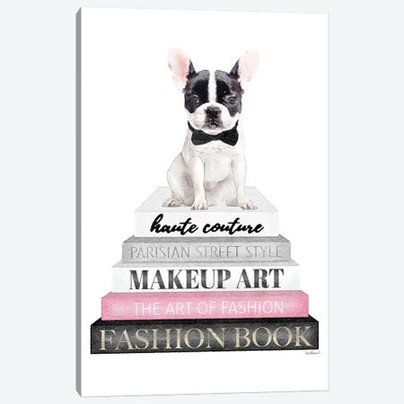 Grey Books With Pink, B&W Frenchie 3-Piece Canvas #GRE312} by Amanda Greenwood Canvas Print