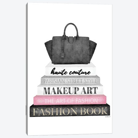 Grey Books With Pink, Black Bag Canvas Print #GRE313} by Amanda Greenwood Canvas Art Print