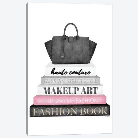Grey Books With Pink, Black Bag Canvas Print #GRE313} by Amanda Greenwood Canvas Art Print