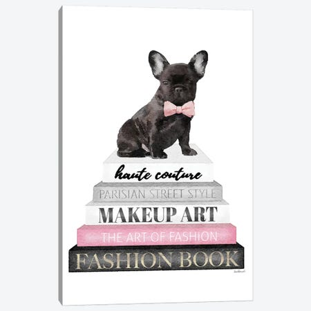 Grey Books With Pink, Blk Frenchie Canvas Print #GRE314} by Amanda Greenwood Canvas Art